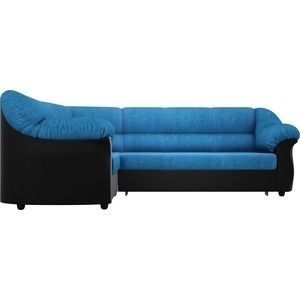 Диван АртМебель Карнелла угол левый велюр голубой экокожа черный - фото 5