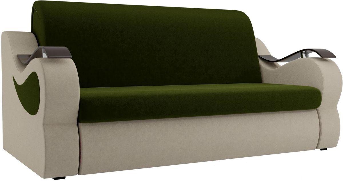 Диван Mebelico Меркурий 222 160, вельвет бежевый/зеленый - фото 1