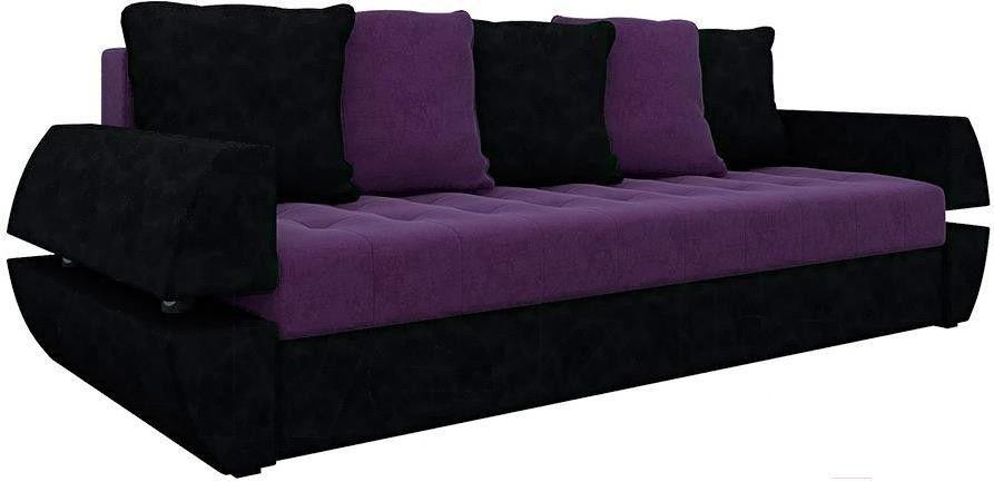 Диван Mebelico Атлант Т 64 микровельвет фиолетовый/черный - фото 1