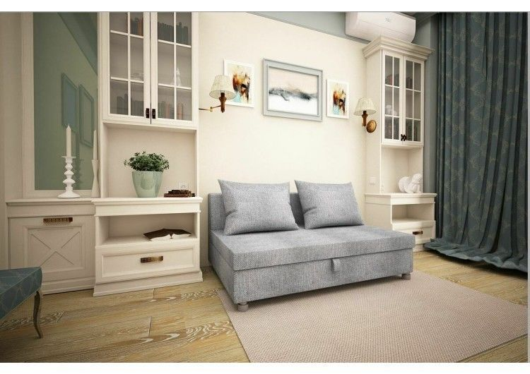 Диван Раевская мебельная фабрика Малыш флок серый 00550 - фото 1