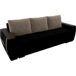 Диван ЛигаДиванов Брион велюр черный, подушки бежевые - фото 2