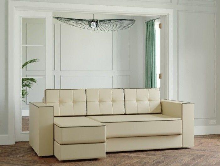 Диван Настоящая мебель Ванкувер Модерн (модель: 00-00000020) экокожа/бежевый - фото 1