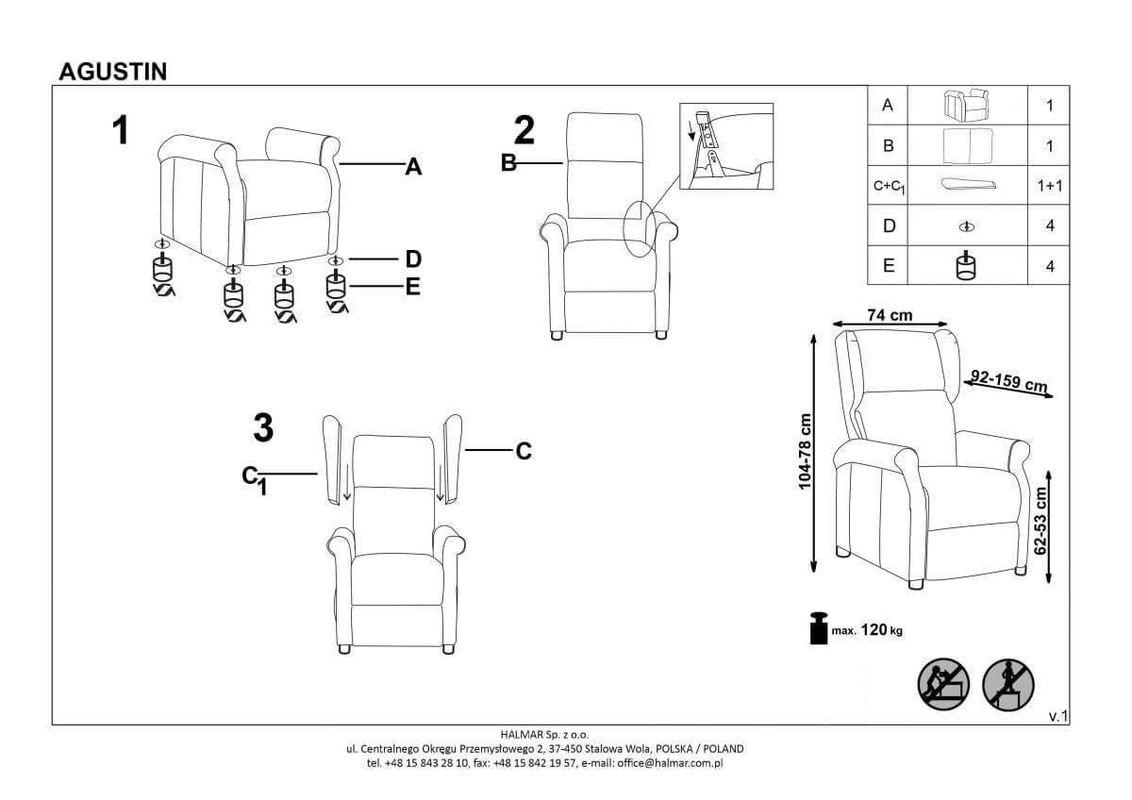Кресло Halmar AGUSTIN (серый) V-CH-AGUSTIN-FOT-POPIELATY - фото 3