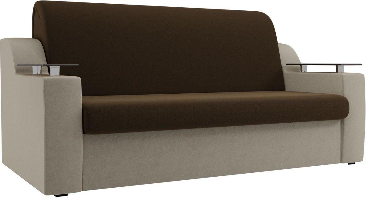 Диван Mebelico Сенатор 100712 120, микровельвет коричневый/бежевый - фото 1