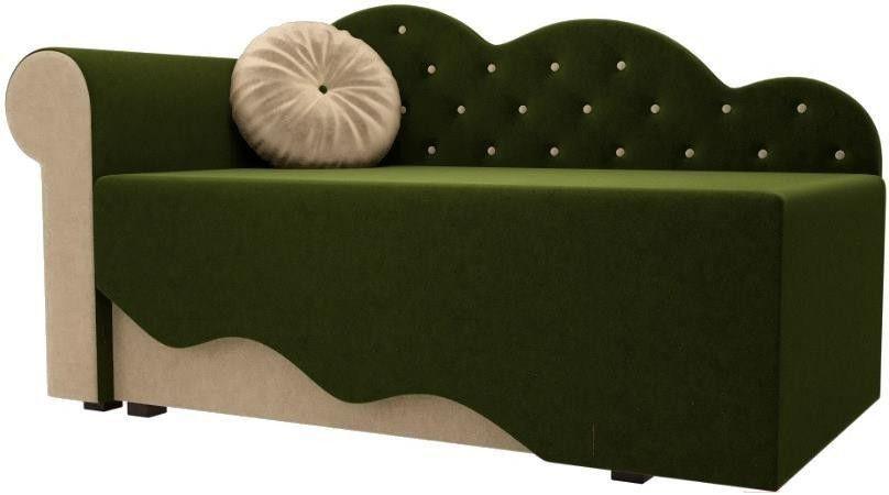 Диван Mebelico Тедди-1 106 левый 60489 микровельвет зеленый/бежевый - фото 1