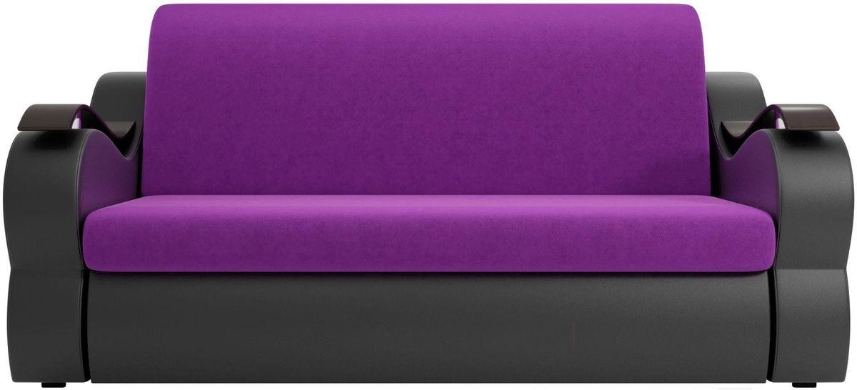 Диван Mebelico Меркурий 222 140, вельвет фиолетовый/экокожа черный - фото 3