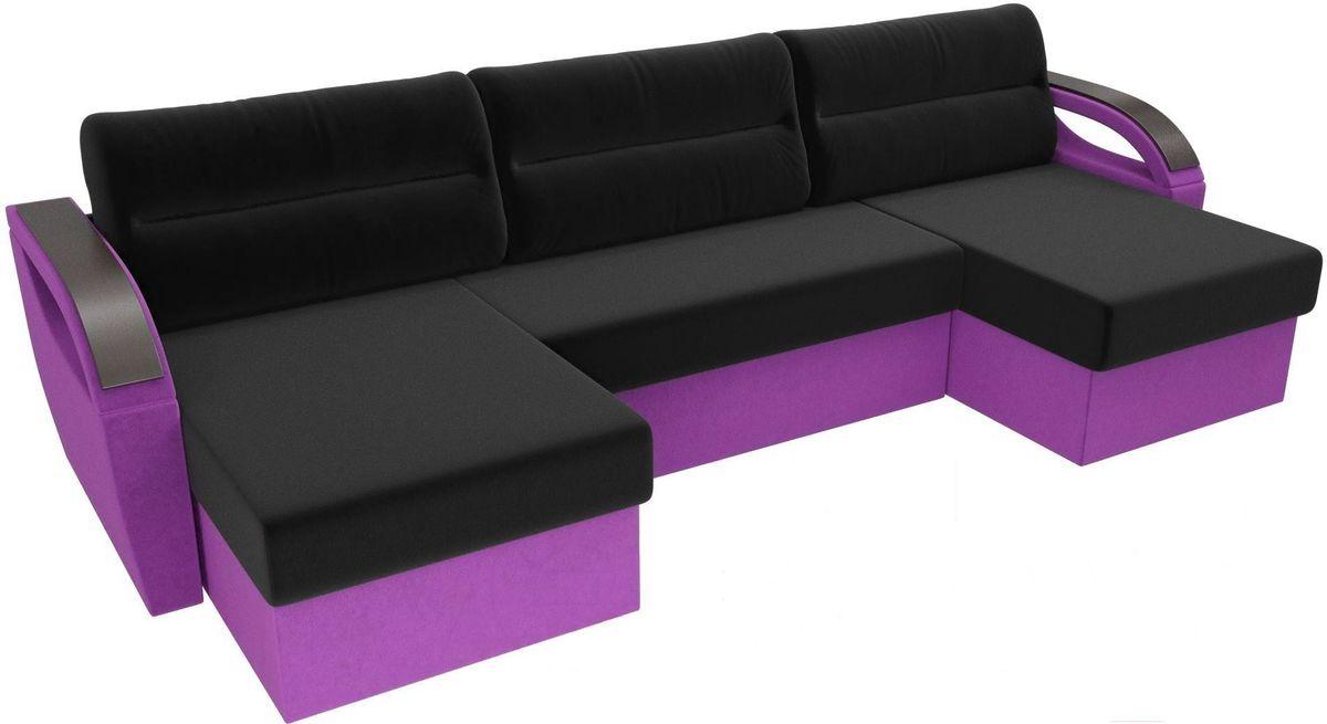 Диван ЛигаДиванов Mebelico Форсайт микровельвет фиолетовый/черный - фото 3