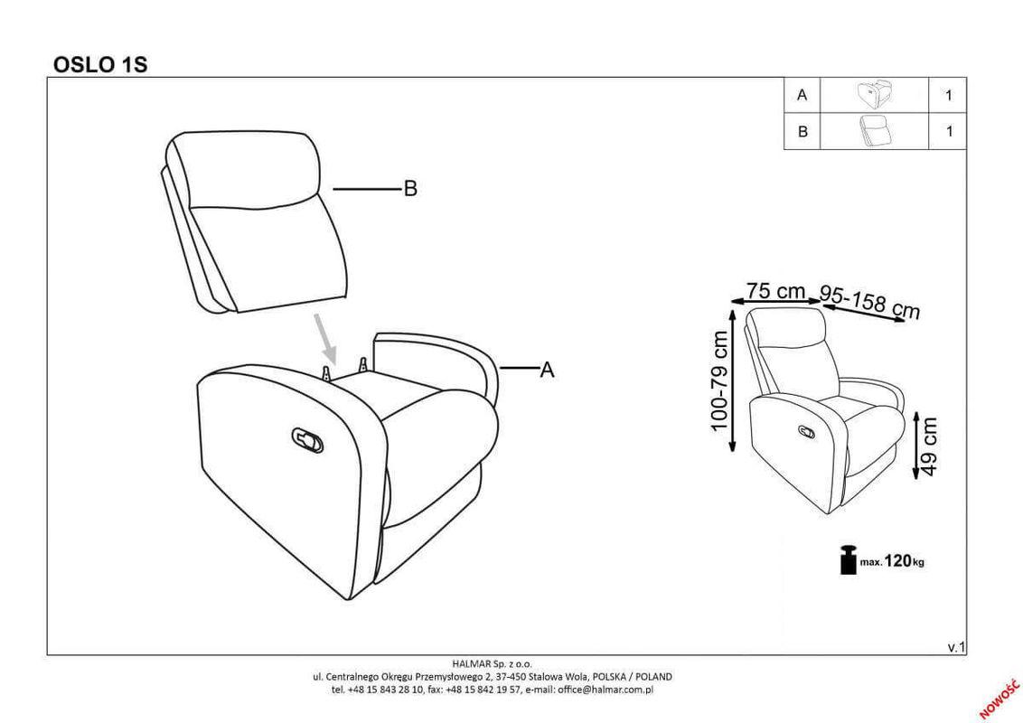 Кресло Halmar OSLO 1S (темно-пепельный) V-CH-OSLO_1S-FOT - фото 3