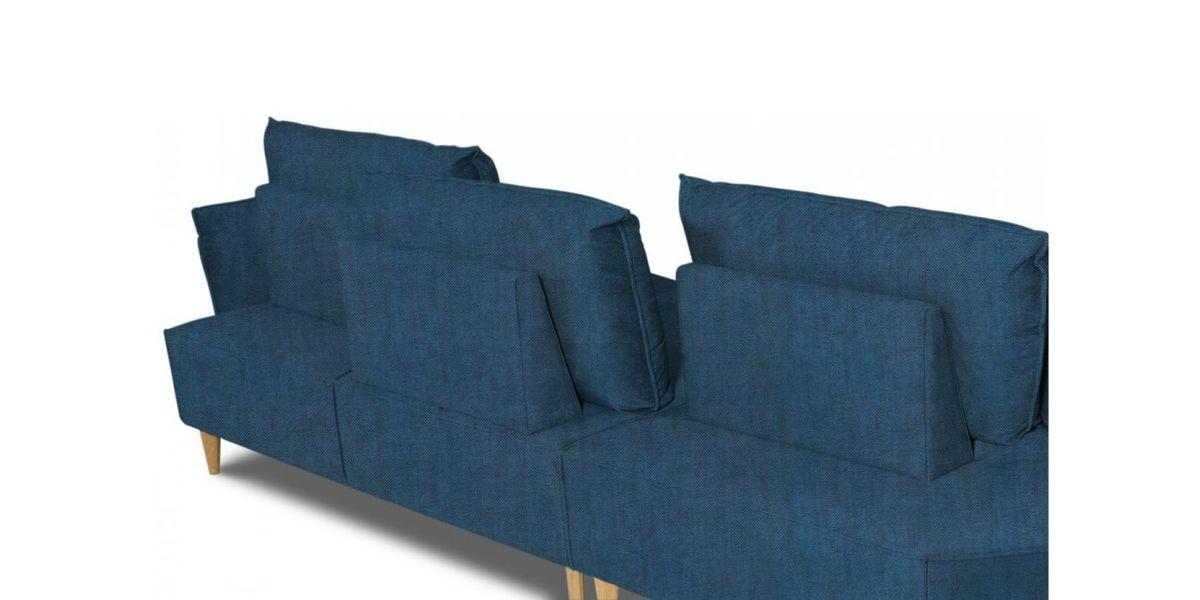 Диван WOWIN угловой Люкке Релакс лазурно-синий велюр (4- местный) - фото 4