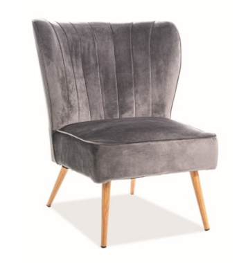 Кресло Signal Legno Velvet (серый/дуб) - фото 1