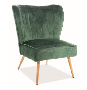 Кресло Signal Legno Velvet (зеленый/дуб) - фото 1