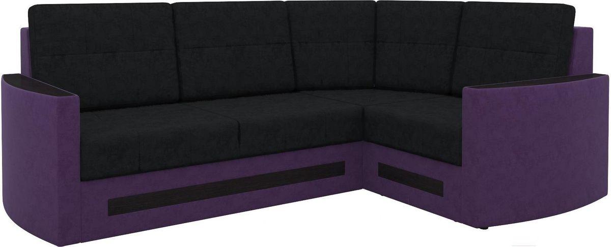 Диван Mebelico Белла У 476 правый вельвет черный/фиолетовый - фото 1