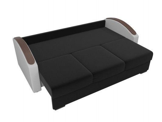 Диван ЛигаДиванов Монако Slide микровельвет черный/экокожа белый/рогожка на флоке - фото 4