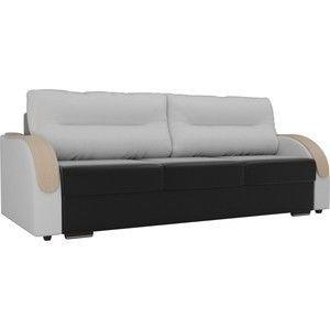 Диван ЛигаДиванов Дарси экокожа черный подлокотники белые подушки белые - фото 1