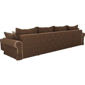 Диван ЛигаДиванов Элис П 124 60664 велюр коричневый бежевые подушки - фото 3