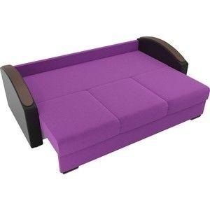 Диван ЛигаДиванов Монако slide микровельвет фиолетовый, подлкотники экокожа черные, подушки микровельвет черные - фото 5