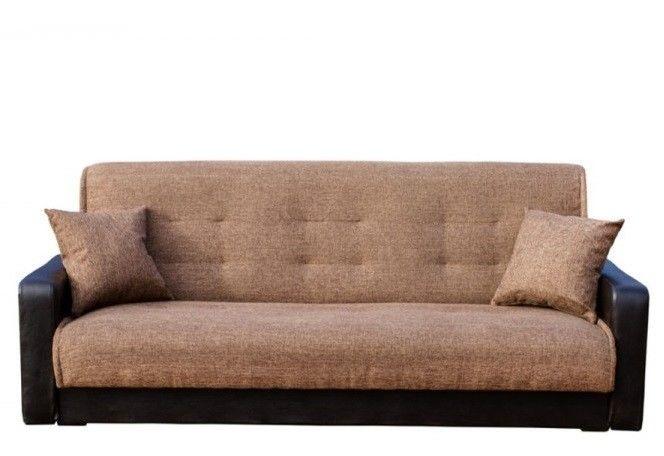 Диван Луховицкая мебельная фабрика Лондон (рогожка коричневая комби) пружинный 120x190 - фото 1