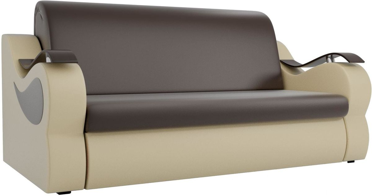 Диван Mebelico Меркурий 222 100, экокожа коричневый/бежевый - фото 1