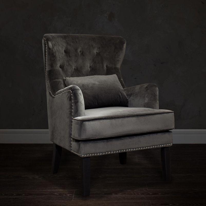 Кресло Garda Decor 24YJ-7004-06437/1 (велюровое серое с подушкой) - фото 5