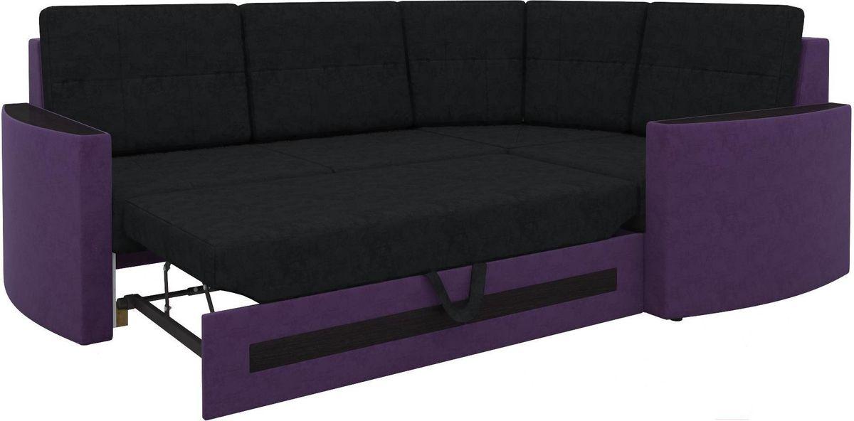 Диван Mebelico Белла У 476 правый вельвет черный/фиолетовый - фото 2