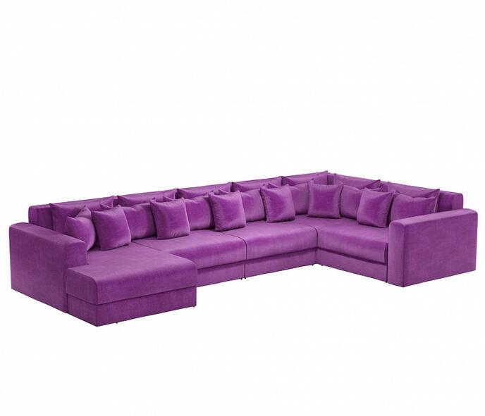 Диван Craftmebel Мэдисон П-образный фиолетовый вельвет - фото 1