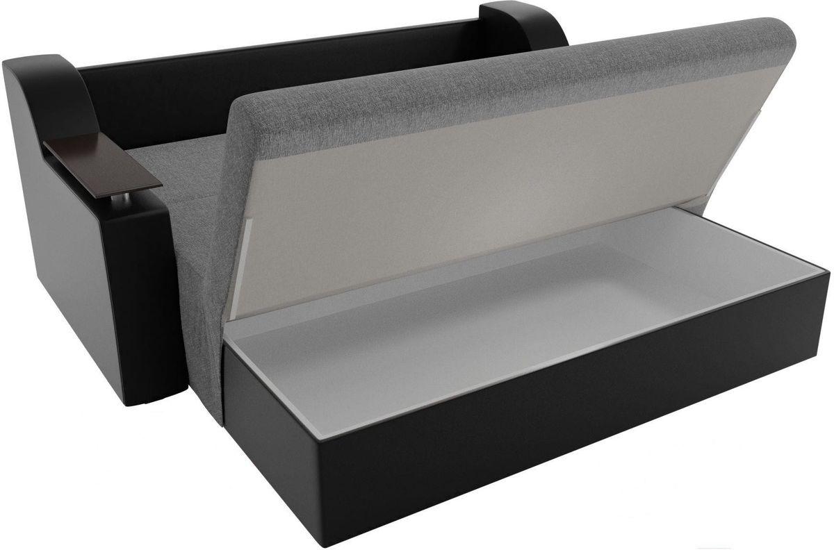 Диван Mebelico Сенатор 100722 120, рогожка серый/экокожа черный - фото 5