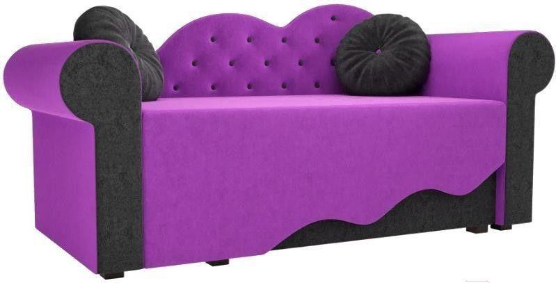 Диван Mebelico Тедди-2 107 правый 60508 микровельвет фиолетовый/черный - фото 1