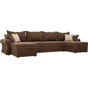 Диван ЛигаДиванов Элис П 124 60664 велюр коричневый бежевые подушки - фото 1