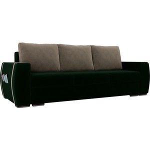 Диван ЛигаДиванов Брион велюр зеленый, подушки бежевые - фото 1