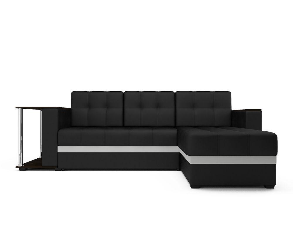 Диван Мебель-АРС Атланта (экокожа черная с полоской) - фото 1