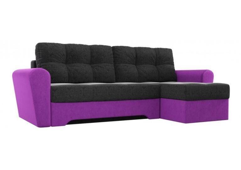 Диван Craftmebel Угловой Амстердам чёрно - фиолетовый вельвет - фото 1