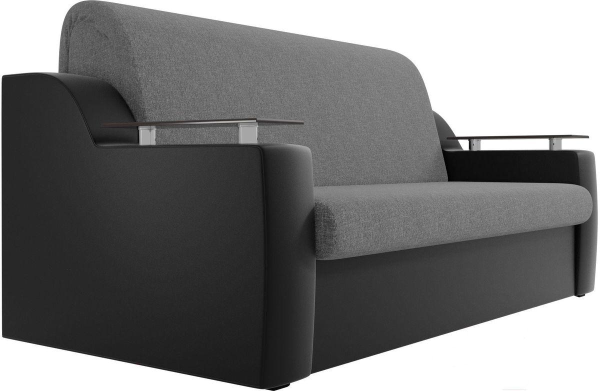 Диван Mebelico Сенатор 100722 120, рогожка серый/экокожа черный - фото 4