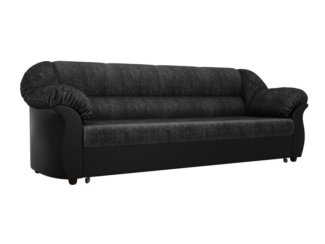 Диван ЛигаДиванов Карнелла 114 60400 велюр черный/экокожа черный - фото 1