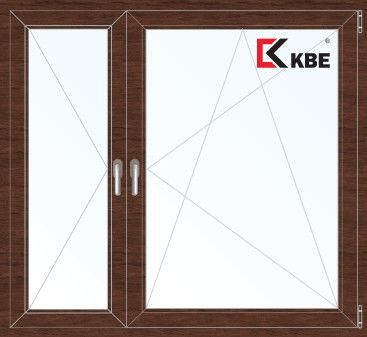 Окно ПВХ KBE Окно ПВХ 1460*1400 2К-СП, 5К-П, П+П/О ламинированное (темное дерево) - фото 1
