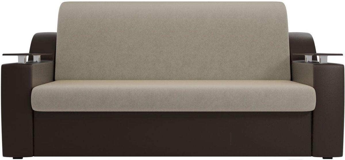 Диван Mebelico Сенатор 100710 100, микровельвет бежевый/экокожа коричневый - фото 4