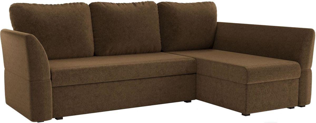 Диван Mebelico Гесен 100 правый 60060 микровельвет коричневый - фото 1