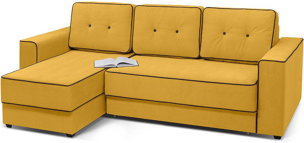 Диван Woodcraft Менли Velvet угловой НПБ холлофайбер Yellow - фото 2