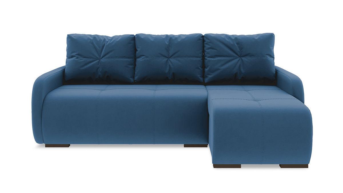 Диван ТриЯ правый «Томас Slim Т1» (Beauty 07 (велюр) синий) - фото 2