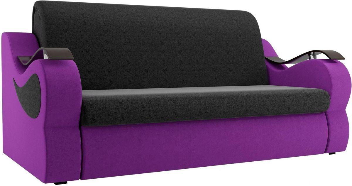 Диван Mebelico Меркурий 222 140, вельвет черный/фиолетовый - фото 1