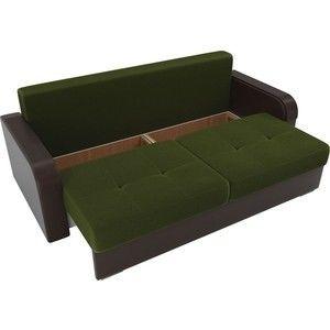 Диван ЛигаДиванов Мейсон микровельвет зеленый экокожа коричневый подушки рогожка на флоке - фото 4