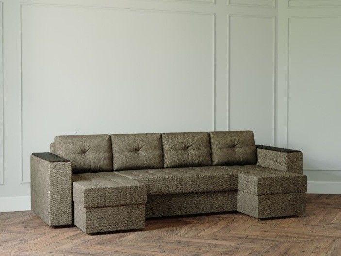 Диван Настоящая мебель Ванкувер Лайт с декором (модель: 5555) коричневый - фото 1