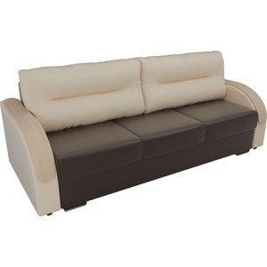 Диван ЛигаДиванов Дарси экокожа коричневый подлокотники бежевые подушки бежевые - фото 2