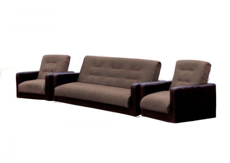 Набор мягкой мебели Луховицкая мебельная фабрика Лондон корфу микс коричневый 120х190 (диван + 2 кресла) - фото 2
