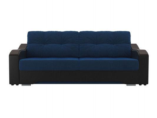 Диван ЛигаДиванов Браун 102165 велюр синий/экокожа черный - фото 3