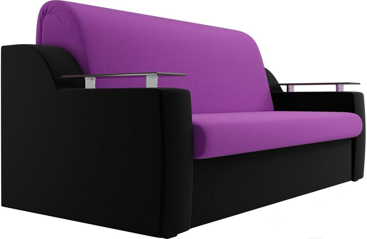 Диван Mebelico Сенатор 100714 120, микровельвет фиолетовый/черный - фото 4