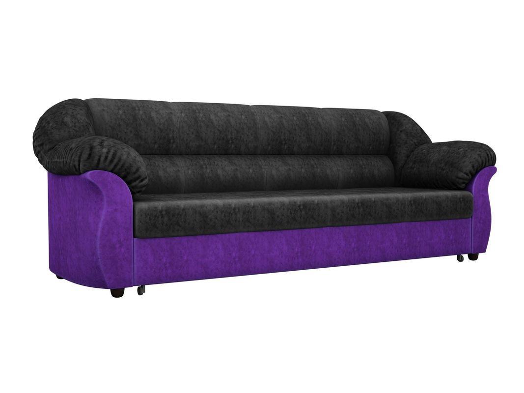 Диван ЛигаДиванов Карнелла 114 60398 велюр черный/фиолетовый - фото 1
