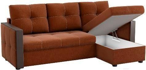 Диван Mebelico Валенсия 147 правый 59836 рогожка коричневый - фото 2