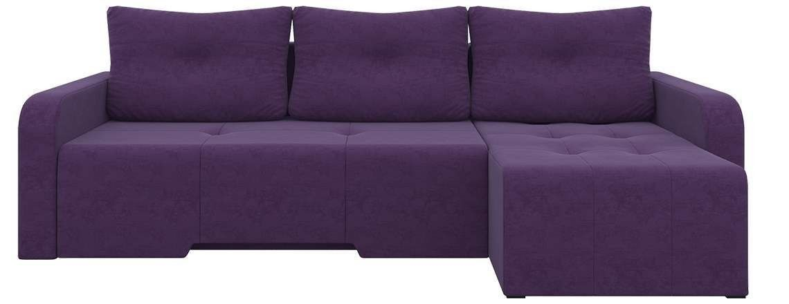 Диван Mebelico Манхеттен 86 правый 58649 микровельвет фиолетовый - фото 1