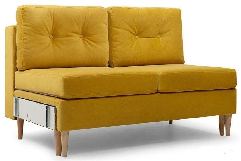 Диван Woodcraft прямой Динс-1 Velvet Yellow - фото 1