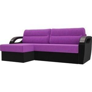 Диван ЛигаДиванов Форсайт левый микровельвет фиолетовый/черный - фото 2